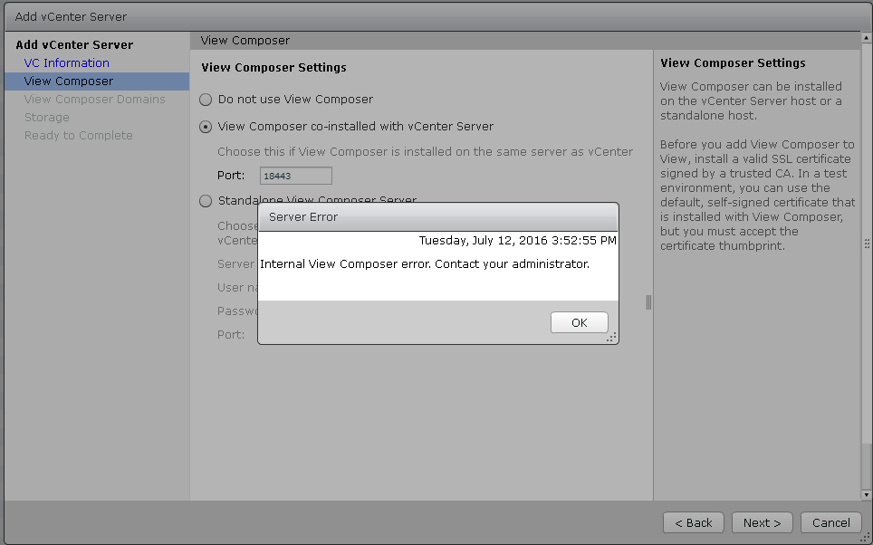 Vmware Horizon View 7 Composer Fix Internal View Composer Error
